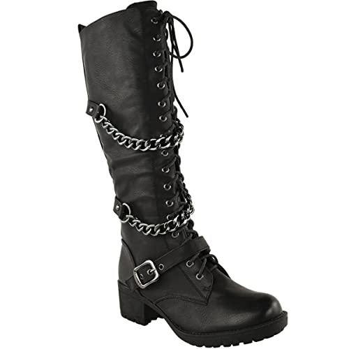 fafaca6104e Fashion Thirsty Womens Knee High Mid Calf Lace Up Biker Punk Military  Combat Boots Shoes Size