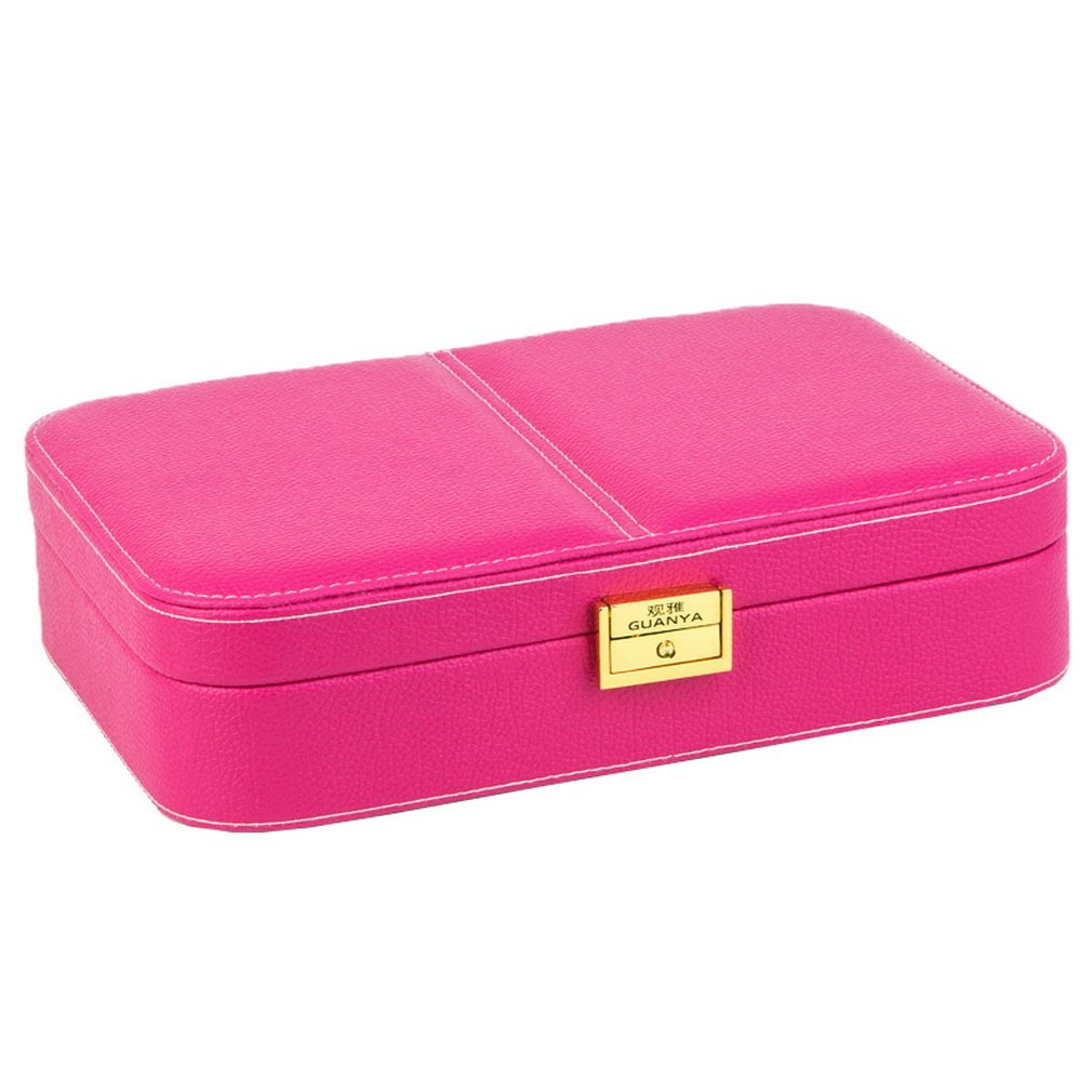 COMVIP Women PU Leather Portable Travel Jewelry Case Organizer Box Rose by COMVIP (Image #1)