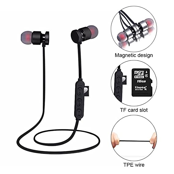 Teepao Auriculares Bluetooth con Ranura para Tarjeta SD TF, cancelación de Ruido estéreo, Bluetooth 4.2, Auriculares intraurales magnéticos para ...