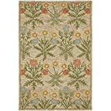 Safavieh Blossom Collection BLM151A Handmade Beige and Multi Premium Wool Area Rug (4' x 6')