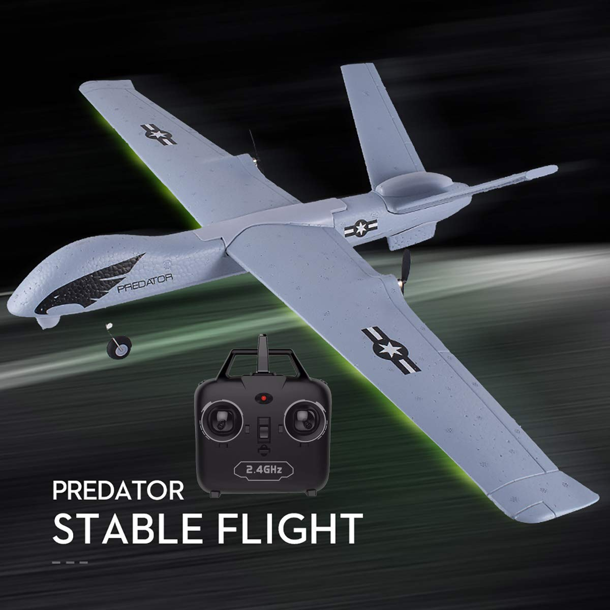 PLRB RC Plane, 2.4Ghz 2 Channels RTF RC Predator Airplane