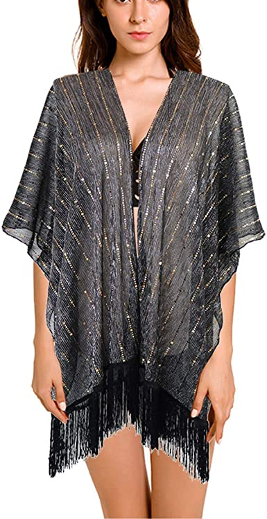 keland Lentejuelas de la camisa de la mujer chal bufanda partido fiesta encogiéndose camisa blusa (Negro): Amazon.es: Ropa y accesorios