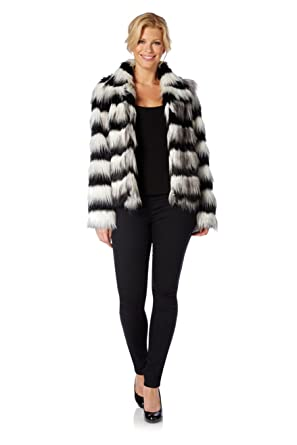 c83b9019c0 Roman Women's Faux Fur Coat Black and White Size XL: Amazon.co.uk ...