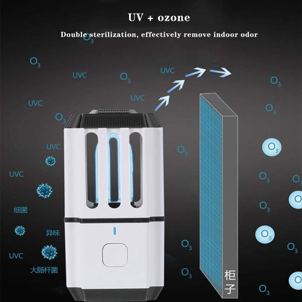 WFWPY Lámpara de desinfección UV lámpara de desinfección compacta portátil purificador Aire lámpara desinfección eliminación de olores caseros Mata los Virus de Las ...