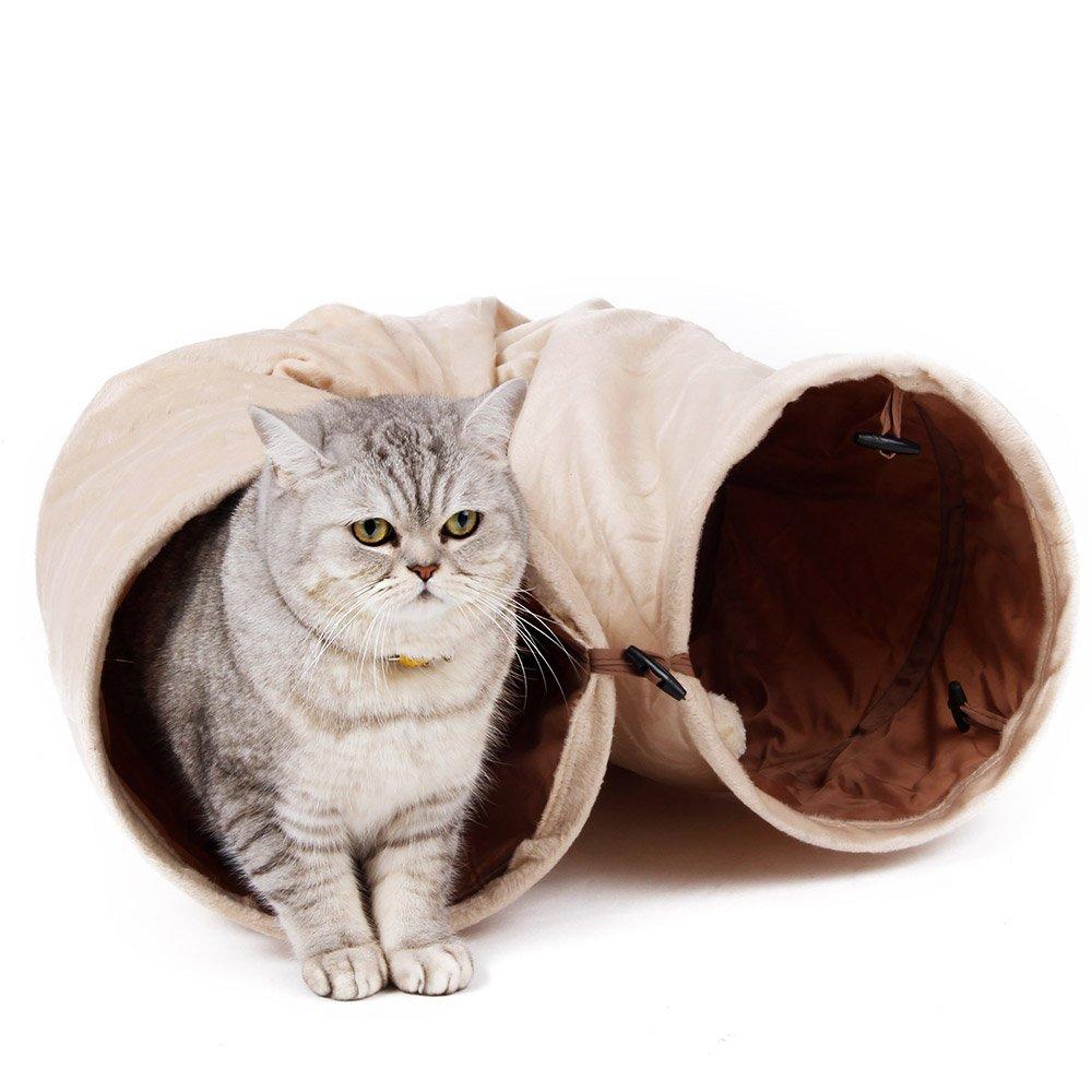 Pawz Road Tube Tunnel de Chat Doux et Froissable, Jouet de Chat Pliant à Deux Sorties avec Boule, de Couleur Blanc du Lait Speedy Pet