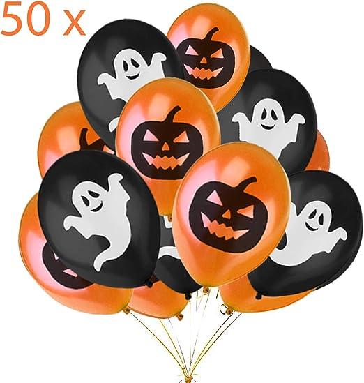 Jonami Halloween Deko Set 50 Halloween Luftballons Halloween Dekoration Ballons Orangen Schwarze Ballons Mit Geistern Und Kurbissen Fur Halloweenparty Kinder Amazon De Kuche Haushalt