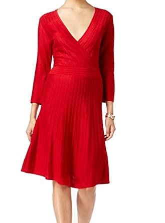 8856d687b6b Nine West Womens Embellished Knit Party Dress Red M at Amazon Women s  Clothing store