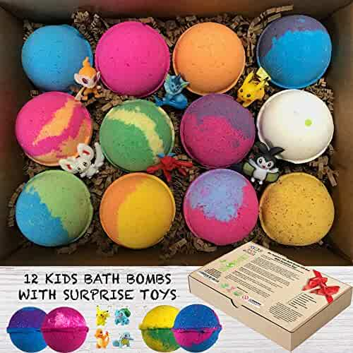 Kids Bath Bombs Gift Set with Surprise Toys (Loose in box), 12 x 3.2oz Fun Assorted Colored Bath Fizzies, Kid Safe, Gender Neutral with Organic Oils -Handmade in the USA Organic Bubble Bath Fizzy