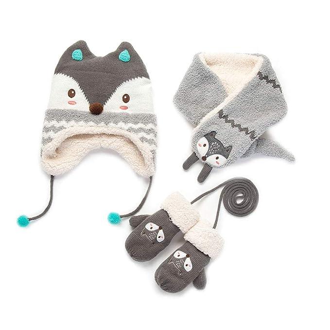 748af249e78 Zulaniu Baby Girls Boys Hats Mittens Winter Warm Knit Hat+Scarf Gloves 3  Pieces
