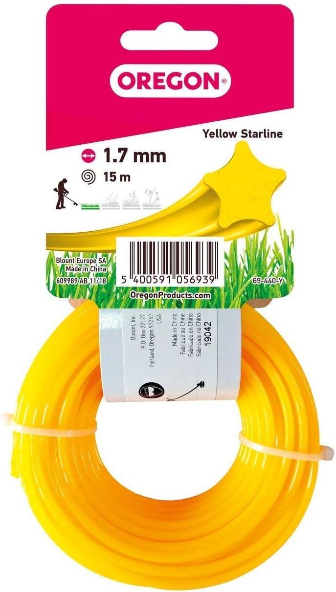 Oregon 69-440-Y Yellow Star Rasentrimmerfaden 1,7 mm x 15 m Draht f/ür Rasentrimmer und Freischneider