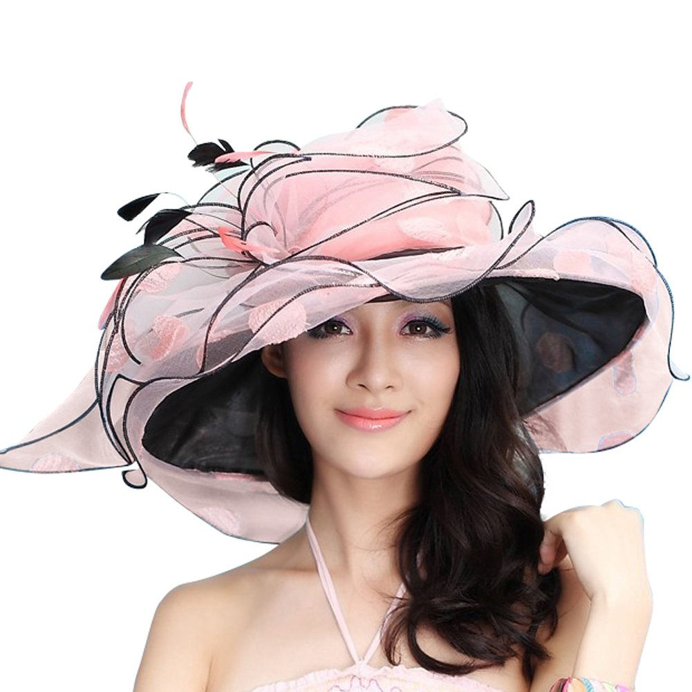 June's Young Women Sun Hat Wide Brim Fashion Derby Hat Polka Dot Peach