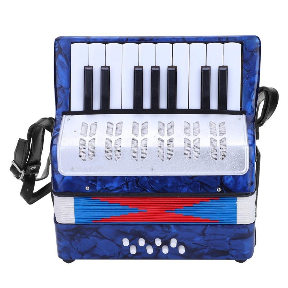 Dilwe Fisarmonica, Mini Piccola Fisarmonica a 17 Tasti a 8 Basso Giocattolo Strumento Musicale per Principianti Insegnamento (blu) Dilwex825e14ghm-04
