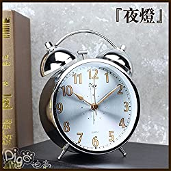 Metal classic vintage retro clock with night light alarm clock alarm mute the alarm den alarm clock,Silver