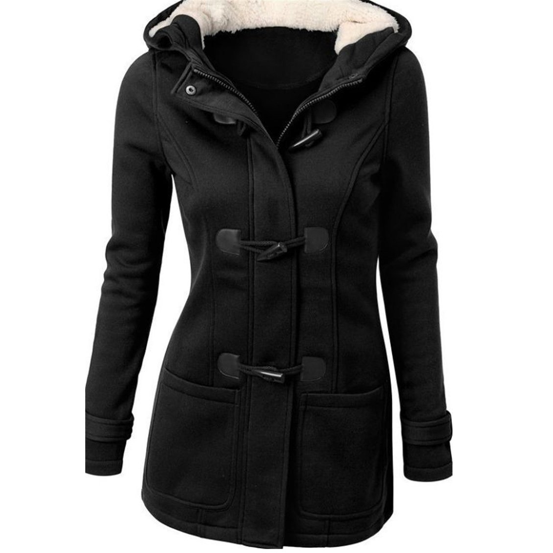 YOUR GALLERY Women's Fleece Horn Button Jacket Coat Slim Fit Hooded Tracksuit Overcoat,Black-4XL by Your Gallery