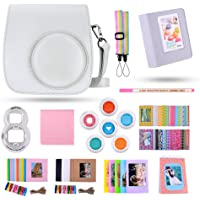 Famall 13 in 1 Instax Mini 9 Camera Accessories Bundles for FujiFilm Instax Mini 9 8 8+ Camera with Mini 9 Case/Album/Selfie Lens/Filters/Wall Hang Frames/Film Frames/Border Stickers - Smokey White