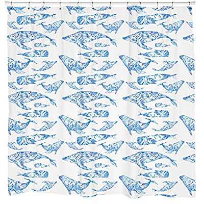 Whale Shower Curtain, Fish Animal Pattern, Beach Theme Shower Decor, Ocean Art, Nautical Bathroom Decor, White Curtain Waterproof