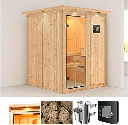 Karibu – Sistema Sauna minja, 151/151/198 cm, 3,6 kW Plug & Play con EXT. Strg. 3,6 kW Plug & Play con control externa: Amazon.es: Hogar