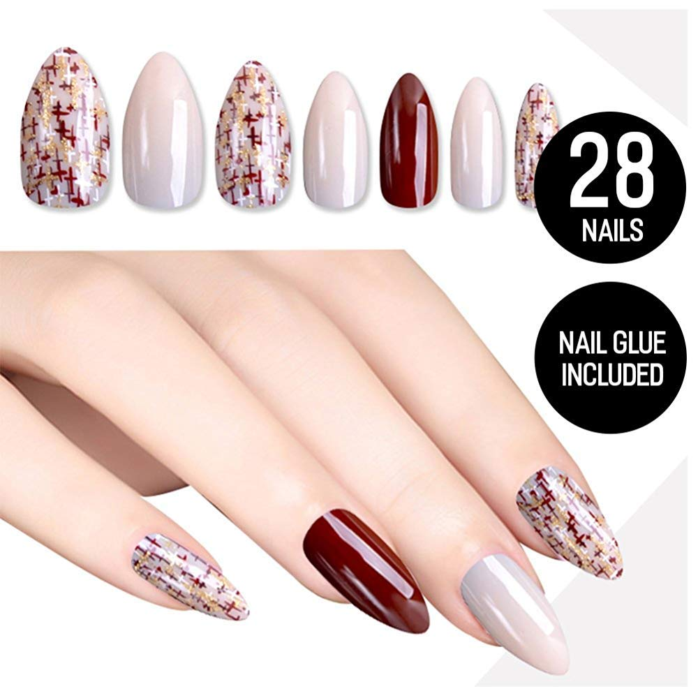 Tip Beauty Nude Red Fake Nail Kit, Dillema Faux Nails for Women, Fake Nails for Kids, Glue on Nails, Instant Nails for Ladies, Professional Nail Tips, False Nails with Glue - MSRP $18