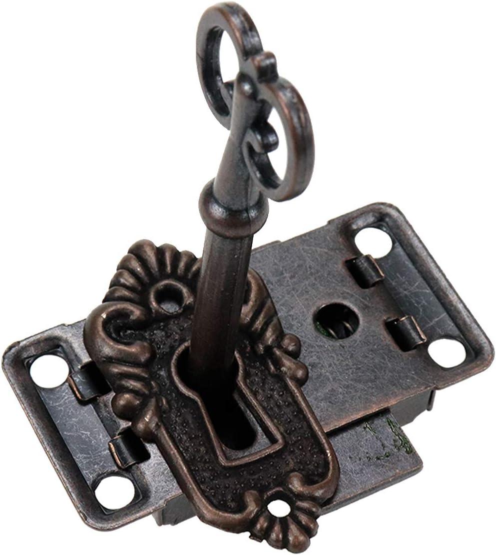 Scon Antique Wooden Jewelry Box Skeleton Key Decorative Lock Red Bronze Furniture Dresser Drawer Door Lock