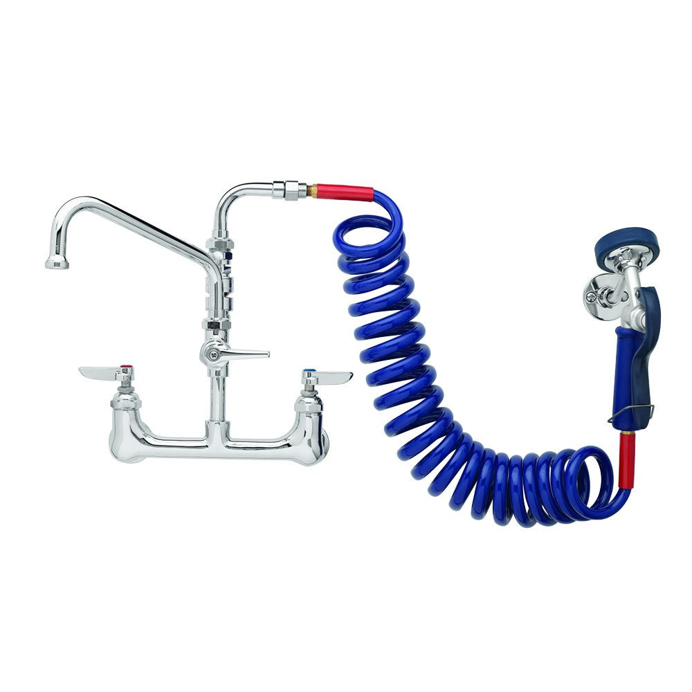 T&S Brass PG-8WSAV-06 Pet Grooming Faucet with Wall 8-Inch, Aluminum Valve, Coil Hose, 6-Inch Add-On Faucet and Vacuum Breaker