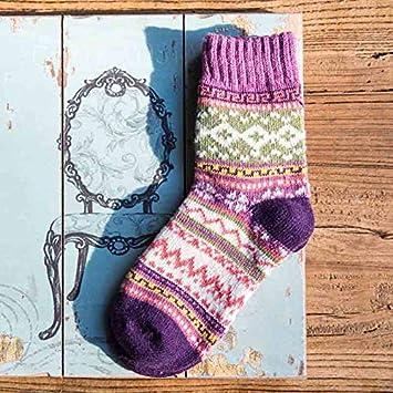 DCPPCPD otoño Invierno Mujer Chica Calcetines Fuzzy Colorido cálido Rayas Hembra 2 Pares de Calcetines de