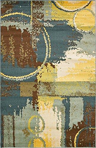 Modern Contemporary All Décor Floor Rugs ( Dark Blue - 5' x 8'-Feet ) Fantasy Area Rug Living Dinning Room Bedroom Carpet