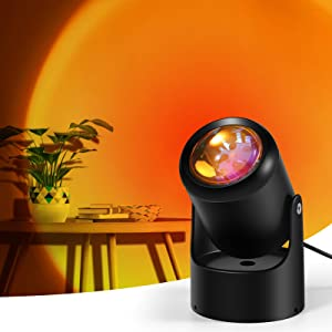 Petrichor Sunset Lamp Projector, Sunset Projection 180 Degree Rotation Projection Lamp Romantic Visual Led Light for Photography/Selfie/Home/Living Room/Bedroom Decor (Sunset Red)