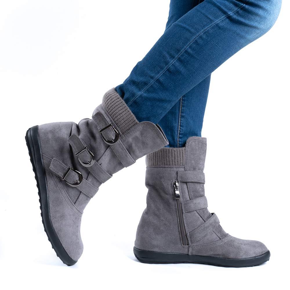 Bottes Femme Hiver Boots Plates Femmes Botte Fourrure Bas Daim Cuir Bottine Neige Low Boucle Fermeture Eclair Noir Marron Gris Orange EU 35-43