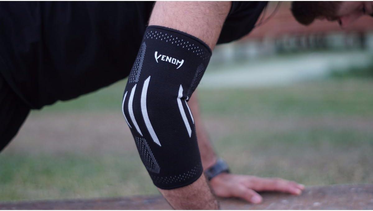 Venom Elbow Brace Compression Sleeve - Elastic Support, Tendonitis Pain, Tennis Elbow, Golfer's Elbow, Arthritis, Bursitis, Basketball, Baseball, Football, Golf, Lifting, Sports, Men, Women (Large): Health & Personal Care