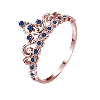 Amazon dainty 14k gold princess crown with sapphire birthstone dainty 14k rose gold princess crown with sapphire birthstone ring september aloadofball Images