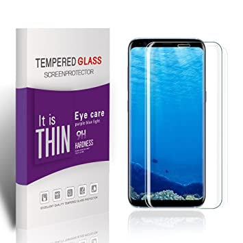 Lsuhjt Protector de Pantalla Galaxy S8, Galaxy S8 Vidrio Templado Tempered Glass, Vegbirt 3D Templado Protector de Pantalla, Vidrio Templado Protector ...