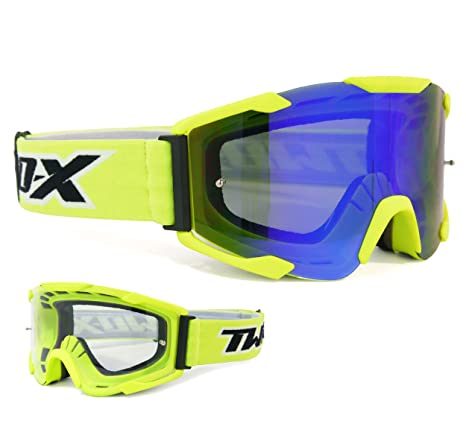 TWO-X Crossbrille BOMB V2 MX Enduro Motocross Brille Downhill klar verspiegelt
