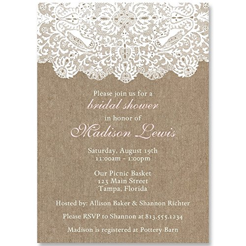 Bridal Shower Invitations, Burlap, Lace, Country, Wedding Shower, Chic, White, Pink, Rustic, Personalized, Customized, 10 Custom Printed Invites with Envelopes, Burlap and Lace Pink by The Invite Lady (Image #1)