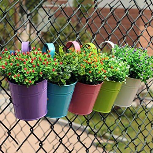 Metal Vintage Plant Flower Pot Fence Balcony Garden Hanging Planter Pots Bucket
