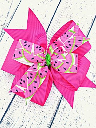 Hot Pink Watermelon Hair Bow, 4 Inch Layered Boutique Hair Bow, Headband or Hair Clip ()