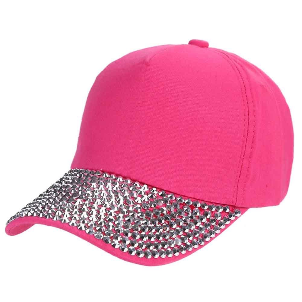 CHUANGLI Women Baseball Cap Plain Sparkle Rhinestone Brim Studs Sun Hat Adjustable CHUANGLI-MCS1320B