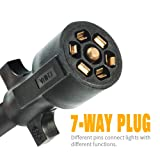 MICTUNING 7 Way Trailer Plug Socket Extension Cable - 7 Blade Trailer Wiring Connector Cord Wire 3ft 10-14 AWG