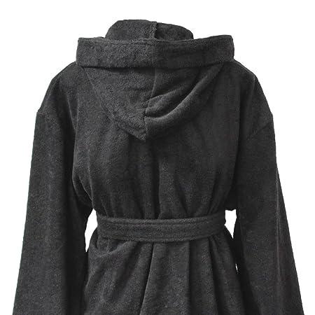 Homescapes XXL Hooded Cotton Bathrobe Black, Men\'s Hooded Bathrobe ...
