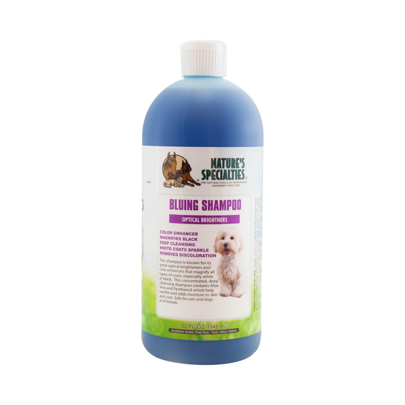 Nature's Specialties Bluing Pet Shampoo with Optical Brighteners, 32-Ounce