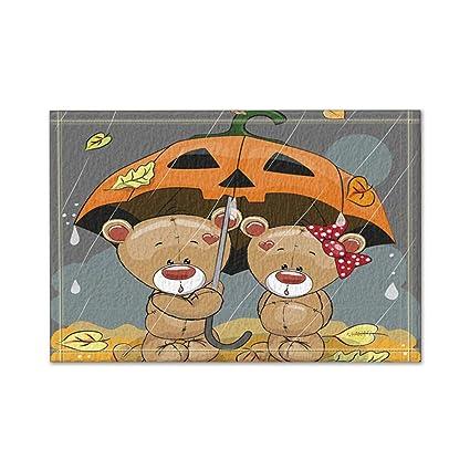 KOTOM animal baño estera para cuarto de baño, dibujos animados osos amor con un paraguas
