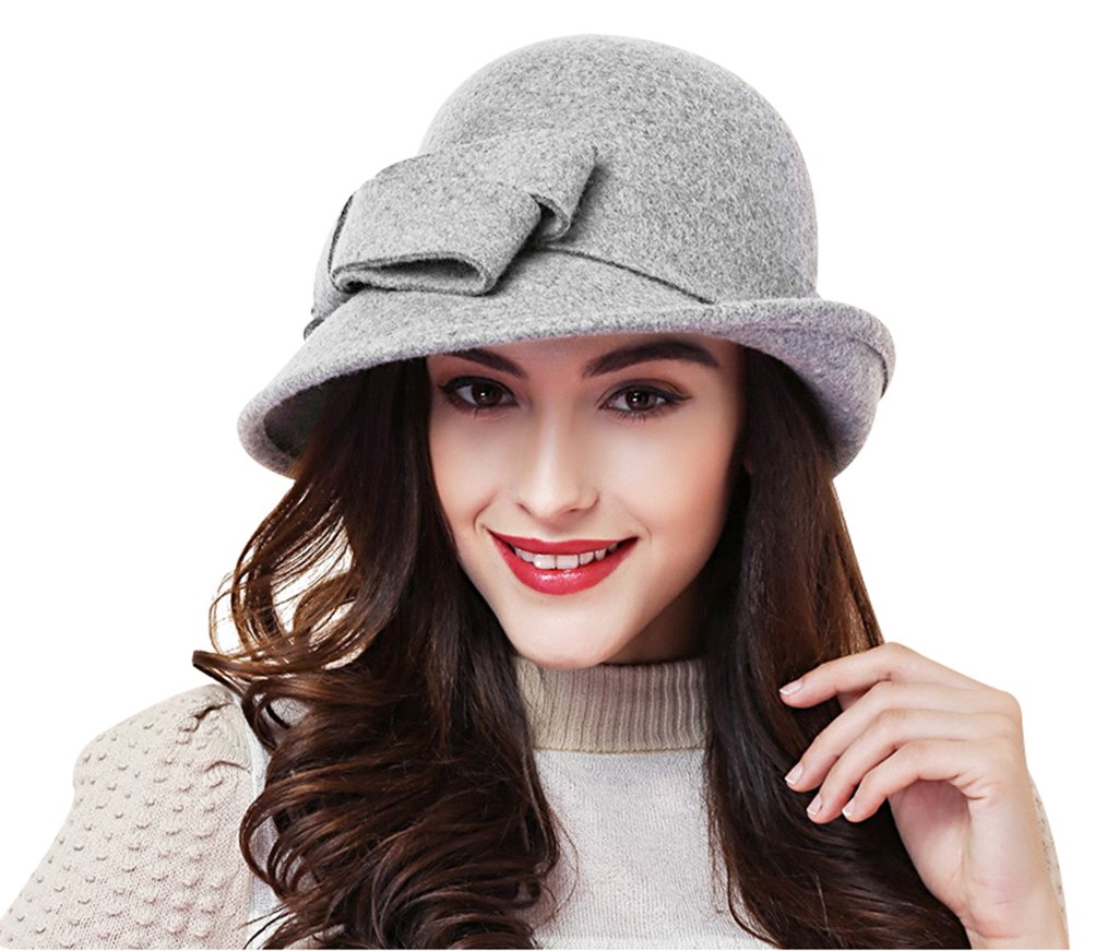Women Solid Color Winter Hat Wool Cloche Bucket with Bow Accent,Grey, One Size