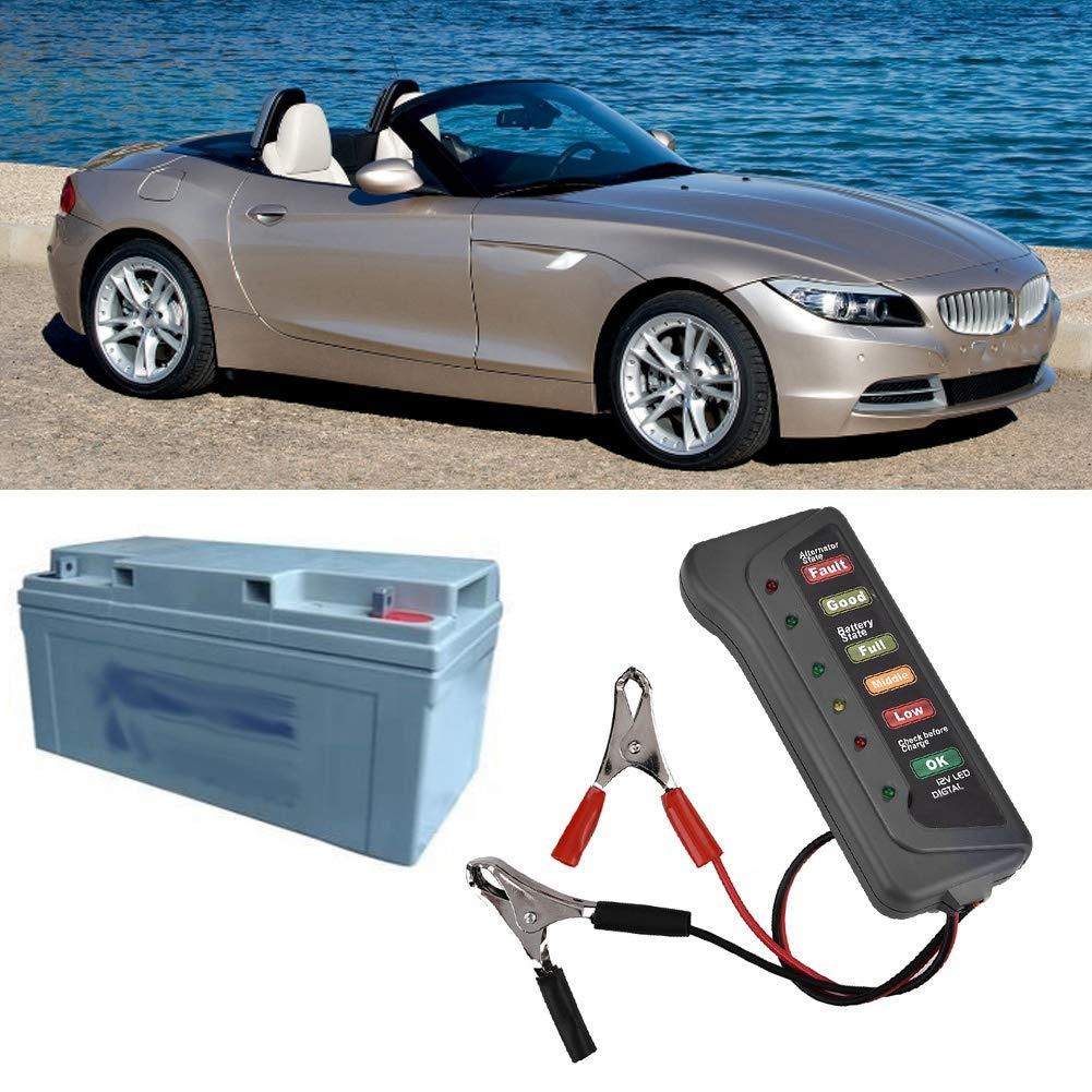 EBTOOLS Comprobador de bater/ía de coche comprobador de carga del alternador del analizador de carga de bater/ía de la motocicleta 12V