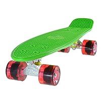 Skateboard LAND SURFER® Rétro Cruiser avec planche de 56 cm - Roulements ABEC-7 – Roues de 59 mm en polyuréthane coloré ou transparent + sac de transport