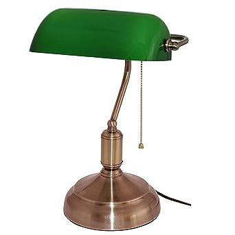 Lampe De Banquier Verre Opaline 38 Cm Chainette Amazon Fr
