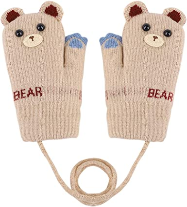 Boys Girls Fashion Warm Gloves Knit Mittens with String Outdoor Skiing Soft Cozy Gloves