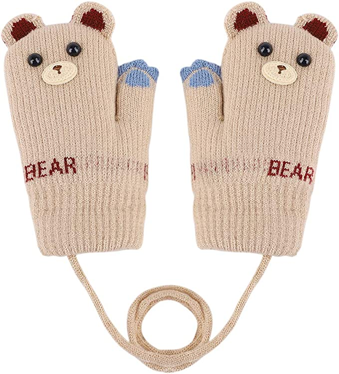 Childrens Toddlers Teddy Bear Mittens Gloves Baby Winter Cold Weather Boy//Girls