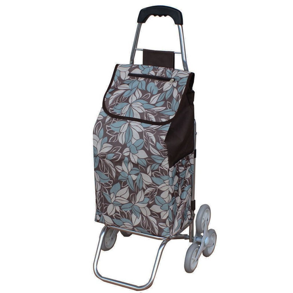 Handcart Folding Shopping Cart Hand Truck Six Rounds Climbing Stairs Trolley Grocery Shopping Trailer Elderly Bag Car Portable Cart Seven Colors Optional 35 Kg Load (Color : G)