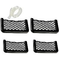 Meltset M 4Pcs Car Storage Net, Black Seat Side Back Storage Net Bag, Universal Car Interior Accessories for Trunk…