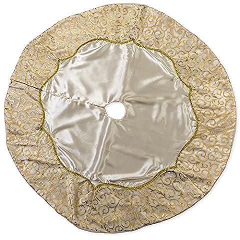 48 inch Solid Gold Toned Plush Fabric Christmas Tree Skirt with Swirl Satin Trim - Design Christmas Tree Skirt