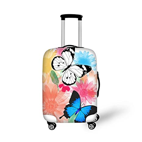 cdf0cc6fee3c CHAQLIN Multi Colored Butterfly Design Funny Elastic Luggage Suitcase  Protector Cover Fits 18-21 Inch Luggage